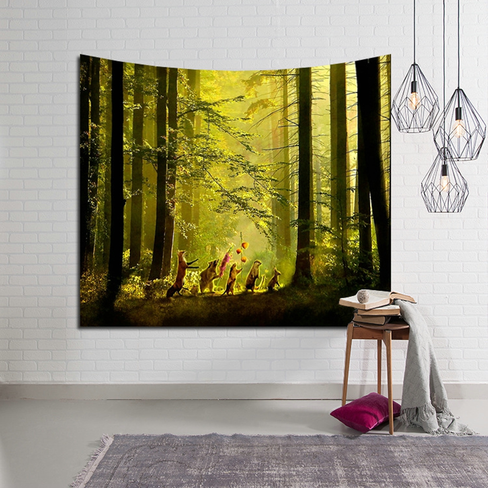 Indian Mandala Tapestry Wall Hanging Trees Sunset Forest Star Scenic ...