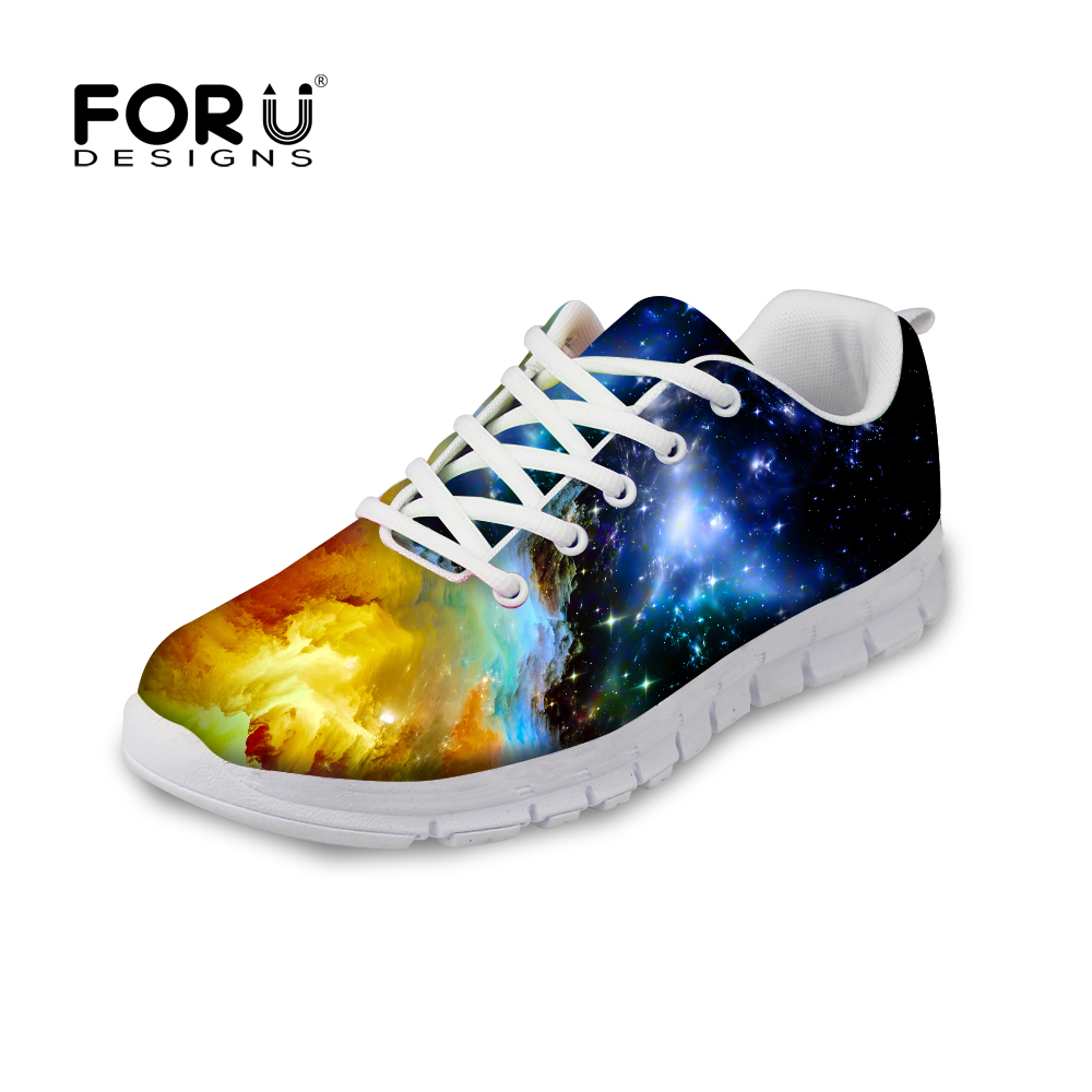 FORUDESIGNS Women Fashion Flats Shoes Galaxy Universe Space Prints Female Comfortable Mesh Shoes Woman Flat Leisure Sneakers instantarts fashion women flats cute cartoon dental equipment pattern pink sneakers woman breathable comfortable mesh flat shoes