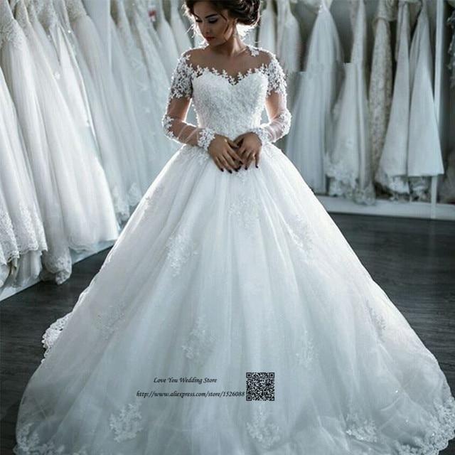 9773d81187 Vestido de Casamento Vintage Wedding Dress 2017 Princess Ball Gown Bride  Dresses Long Sleeve Lace Wedding Gowns Abiti Da Sposa