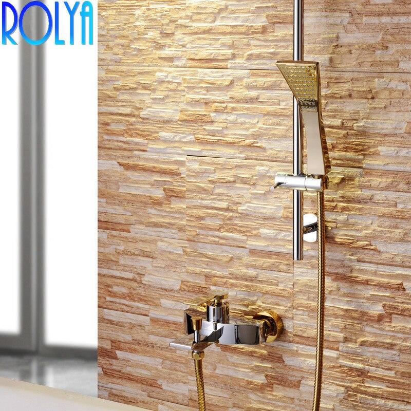 ROLYA vente en gros nouveauté en laiton massif luxueux doré dans le mur salle de bain mélangeur de douche ensemble avec barre coulissante