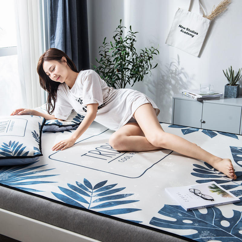 Summer Ice Cool Mat Bedding Set Leaves Pattern 3pcs Flat Bed Sheet Pillowcase Set Comfortable Home