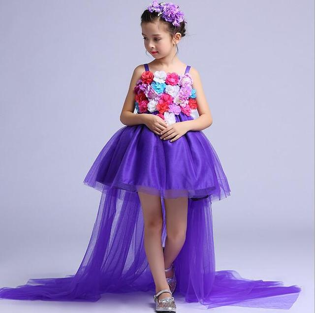 4738d51829 Sukienka dla dziewczynki z kwiatami długie końcowe korowód sukienki dla  dziewczynek w wieku 4-12