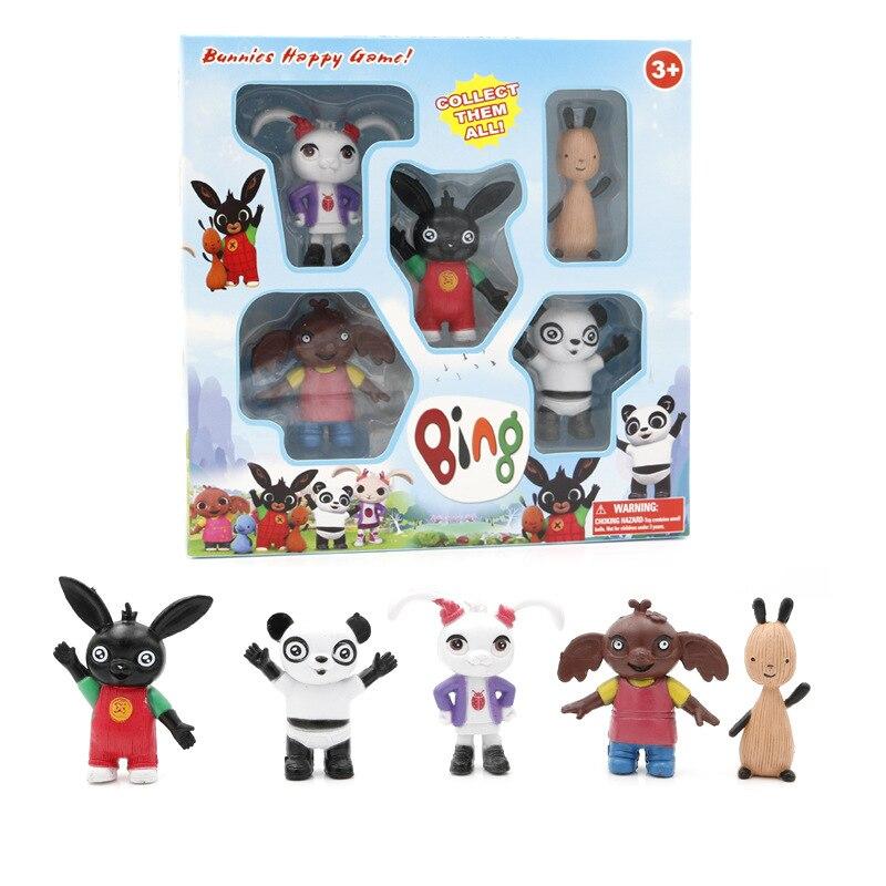 5pcs/set Hot Forest Animal Friend Bing Bunny Rabbit Action Figure Toy Cute Elephant Panda Bear Model Doll Toys Kids Gift
