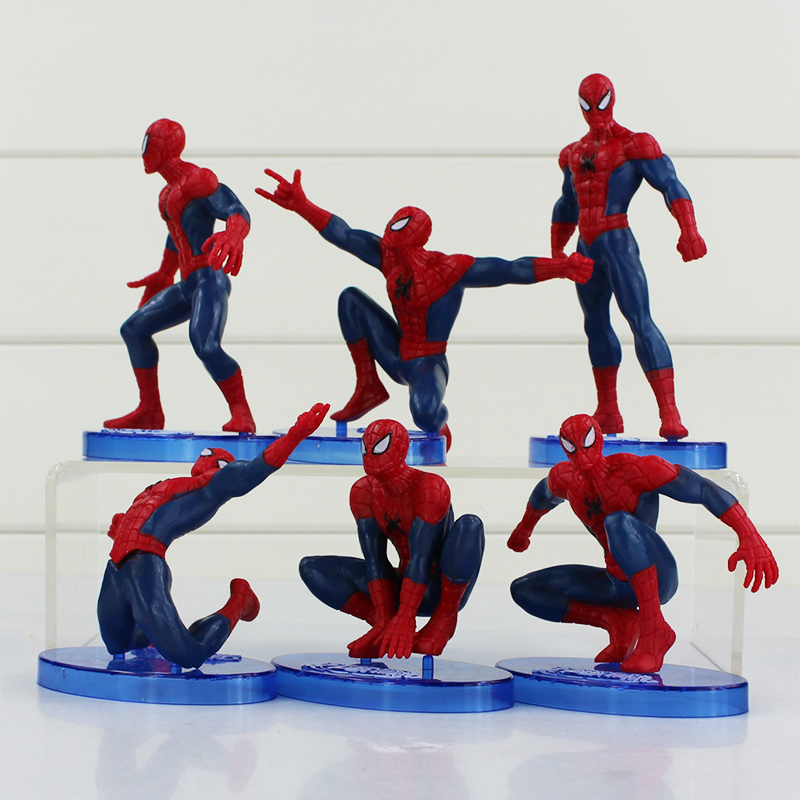 6pcs/lot Superhero Spider-Man Action Figure Toys PVC Spider Man Toy For Kids Children Gifts 7-12.5cm