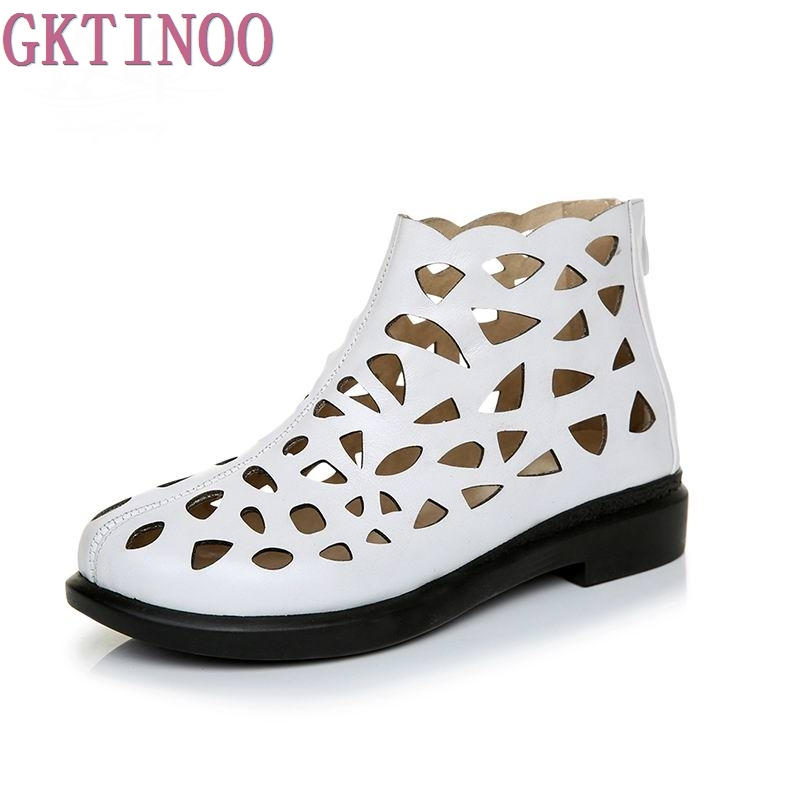 New Arrival Roman Women Sandals Cut outs Gladiator Low Heels Ankle Cool boots Genuine Leather Ladies Summer Shoes