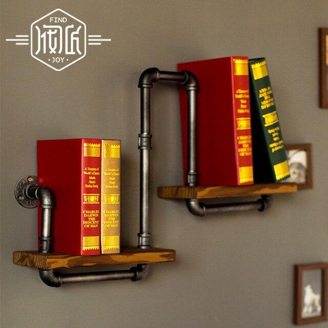 Free Shipping Iron Wood American Country Metal Pipe Bookshelf Retro Shelf Shelves Showcase Industrial Pipes Bookcase