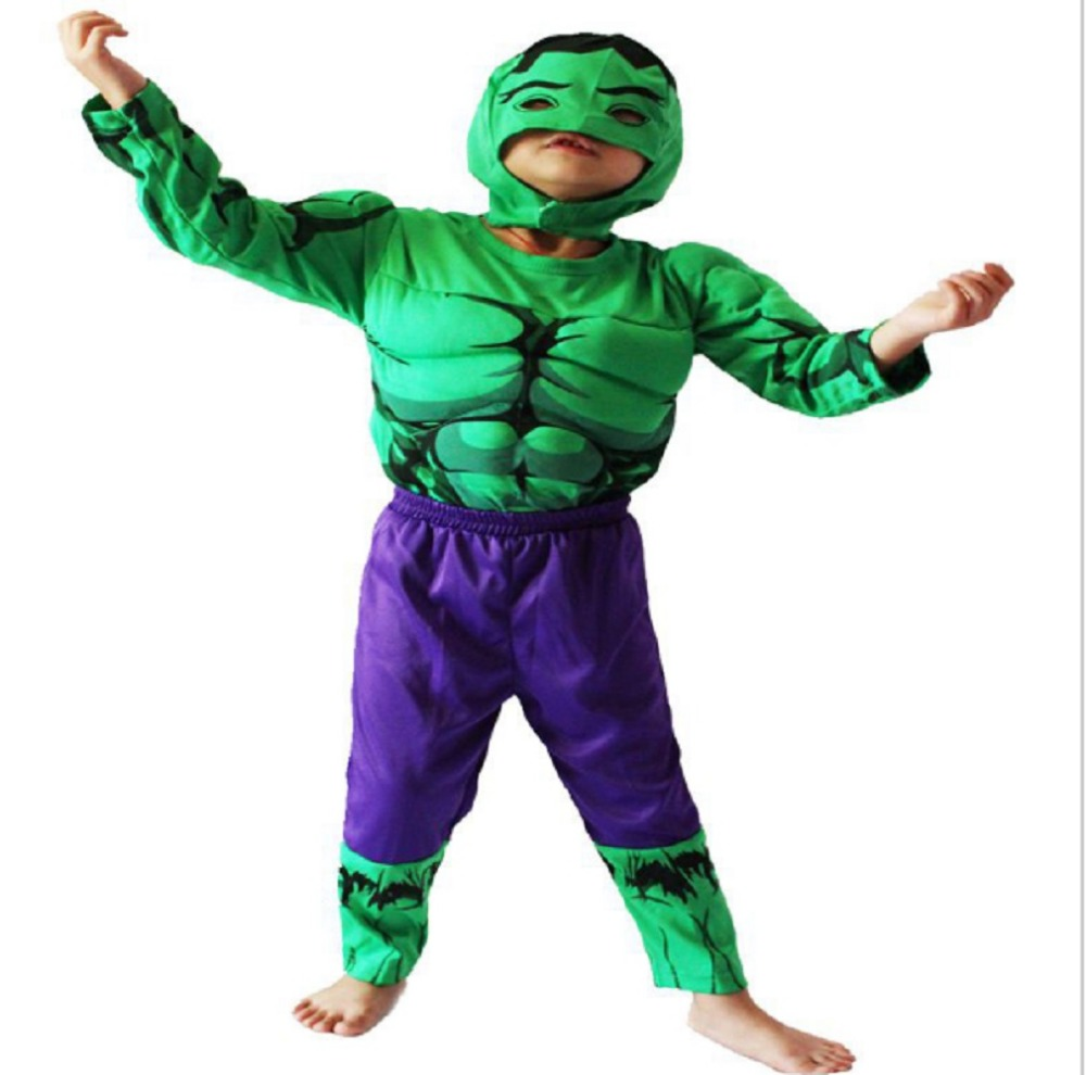 3-7Years Boy The Hulk Muscle Costume Halloween Costume For Kids Party Cosplay T-Shirt+Pants Set S-XXL