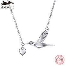83719a4a1f5c SILVERCUTE Collar para las mujeres colibrí con colgante de corazón 100%  Real 925 de oro de plata de ley regalo de joyería fina S..