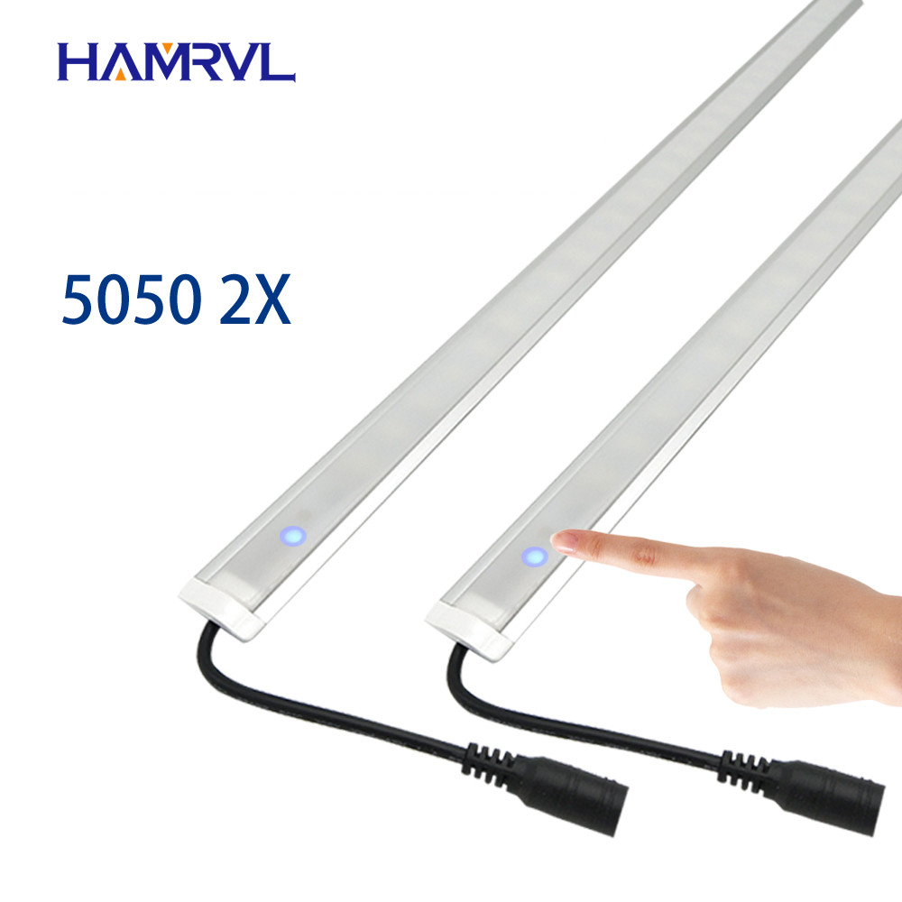 2pcs Dimmable Touch Switch Kitchen Led Under Light  DC12V 5050 LED Hard Rigid  Strip Bar Light +U Aluminium+flat Cover 50cm