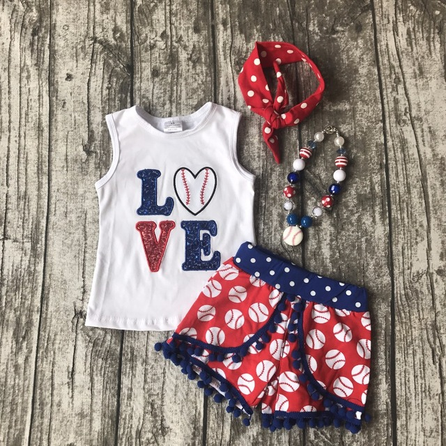 4ac8077a4c016 US $14.09 |kids Baseball season clothes baby girls LOVEA baseball clothing  girls summer shorts boutique outfits with accessories-in Clothing Sets from  ...