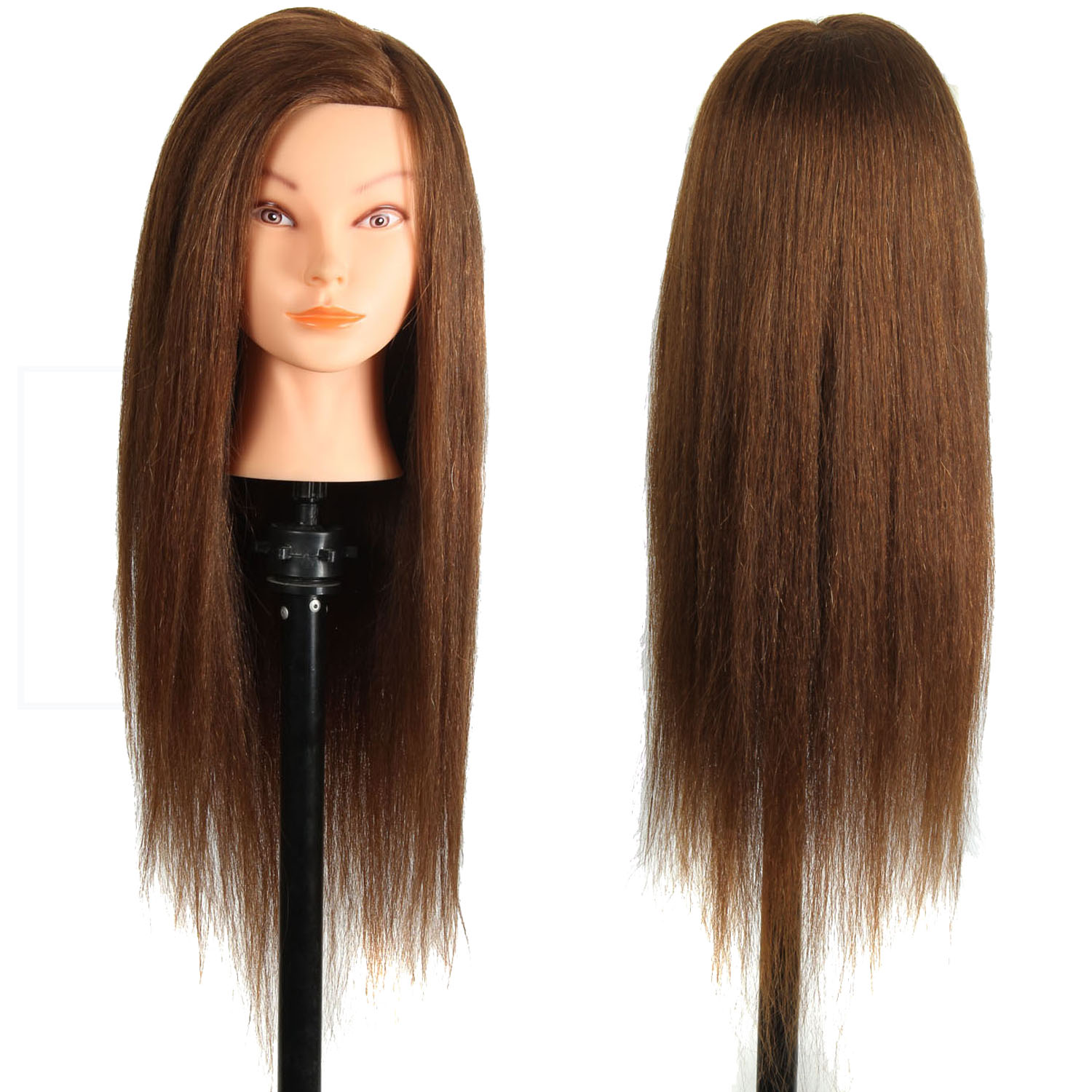 New Cosmetology Mannequin Head 24″ Medium Brown Make-up Unprocessed Mannequin Heads Mix Human Hair and Animal Hair Dummy Head