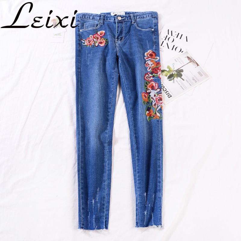 Slim   Jeans   Women Skinny High Waist   Jeans   Woman Flower Embroidery Blue Denim Pencil Pants Stretch Waist Pants Calca Feminina