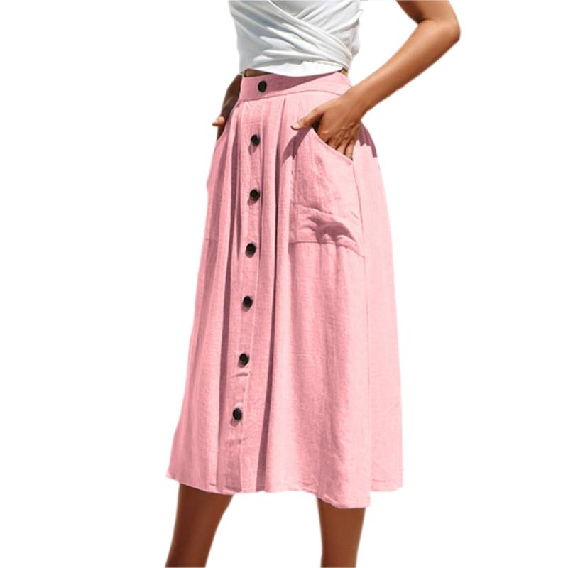 Boho Summer Beach 2019 Nieuwe Vrouwen Elegante Rokken Knoppen Decoratie Zakken Roze Rok Plus Size Chic A-lijn Casual Rokken M0430 Geavanceerde TechnologieëN