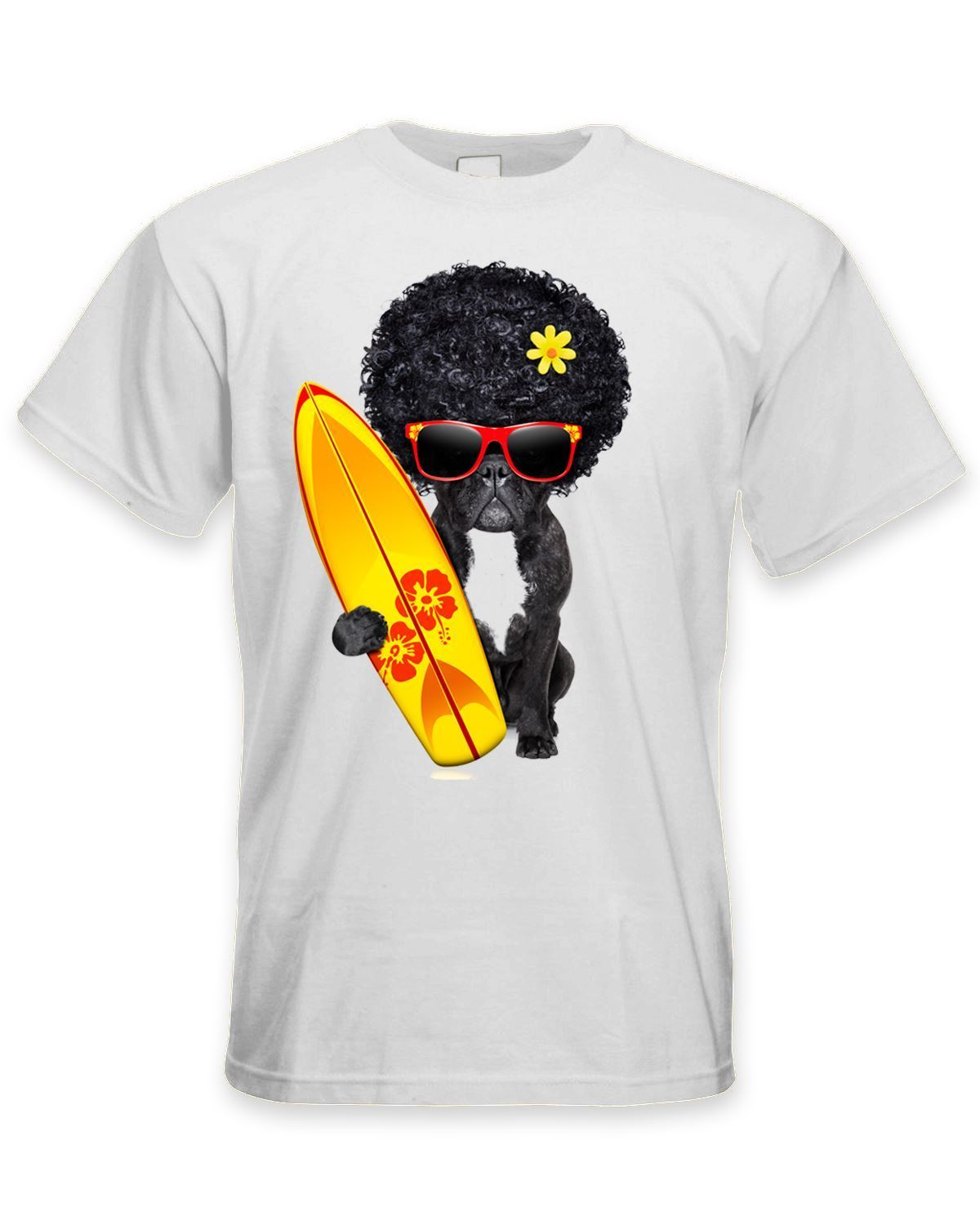 French Bulldog Surfer With Afro Hair Mens T-Shirt - Funny Pet Bull Dog Print T-Shirt Summer Casual top tee