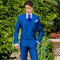 2018 Latest Coat 3 piece slim Royal Blue Italian Men Suit Classic Gentle mens Tuxedo Prom Blazer Custom 3 Piece suits Masculino