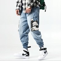 Japan Style Mens Elastic Waist Denim Cargo Pants with Side Pockets Blue Hip Hop Jeans for Men Loose Fit Streetwear Jeans Hombre