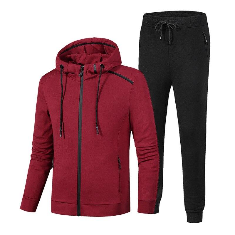 2018 nouveaux hommes Sportswear lâche Gym vêtements homme course Jogging costumes Zipper deux pièces veste + pantalon grande taille 7XL 8XL