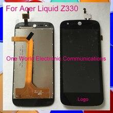 "De alta Calidad Negro 4.5 ""para acer liquid z330 visualización de pantalla completa lcd con digitalizador pantalla táctil de montaje completo código de seguimiento"