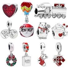 Caja de regalo de tren de Navidad de Plata de Ley 925 sombrero rojo compatible con pulsera de Europa, cuentas de globo de aire de oso, encanto de taza de corazón de Papá Noel