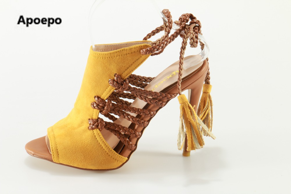 Apoepo brand Sexy summer High heels sandals shoes lace up shoes women peep top pumps yellow Beach shoes big size 35-42 apoepo brand 2017 zapatos mujer black and red shoes women peep toe pumps sexy high heels shoes women s platform pumps size 43
