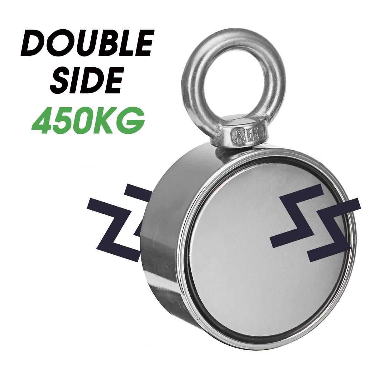Aimant de récupération de récupération de pêche de néodyme du Double côté 420 kg D75mm pour détecter le trou magnétique puissant d'anneau de trésor en métal