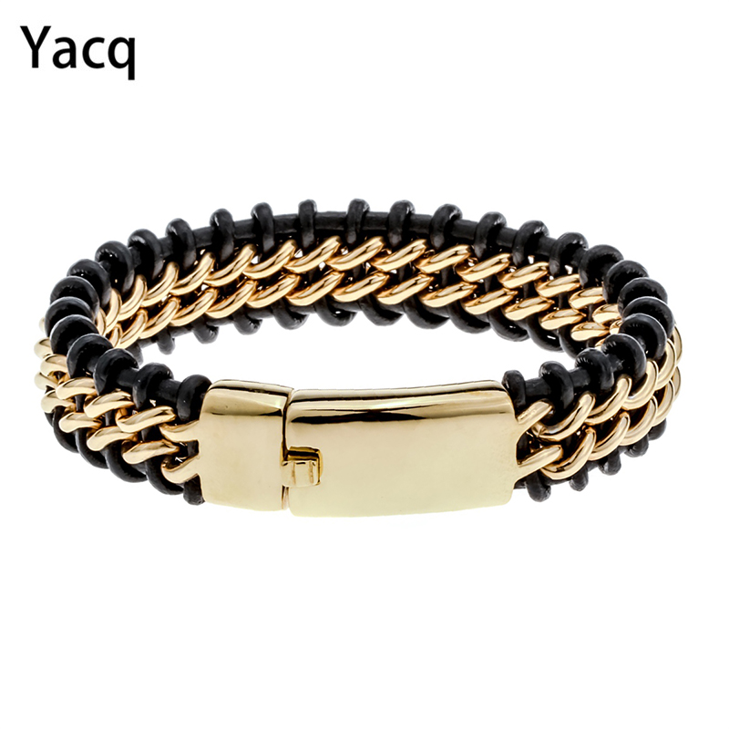 """Mens black leather stainless steel hiphop bracelet gold silver color jewelry birthday gifts for dad him boyfriend kids 8.5"""" D052"""