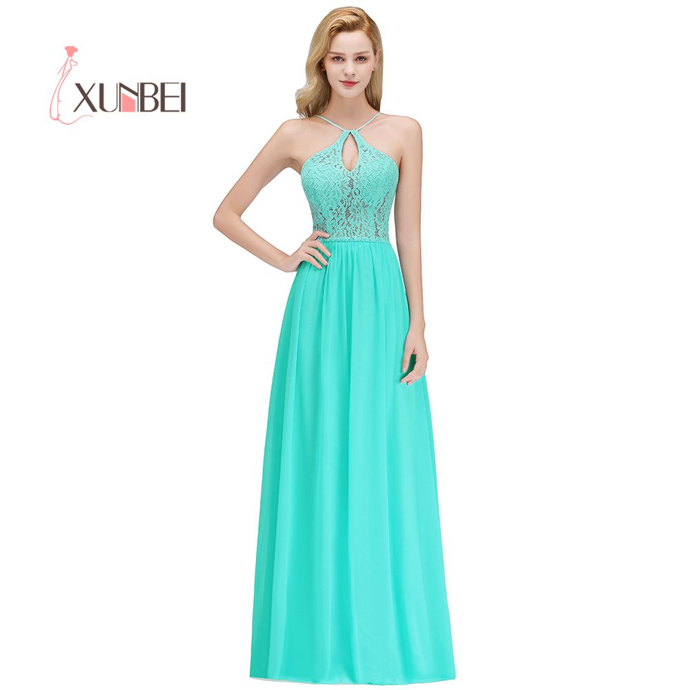 Vestido dama de honor Halter Chiffon Lace   Bridesmaid     Dresses   Long 2019 Sexy Backless Prom   Dresses   Wedding Party Gowns