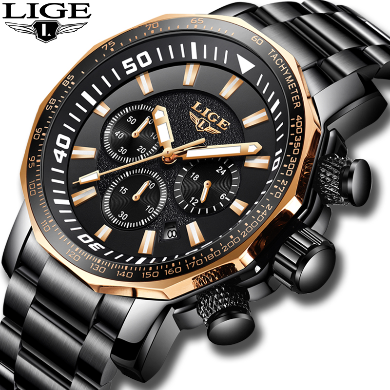 2019 LIGE Mens Watches Top Brand Luxury Sport Quartz All Steel Clock Male Military Waterproof Chronograph Date Relogio Masculino2019 LIGE Mens Watches Top Brand Luxury Sport Quartz All Steel Clock Male Military Waterproof Chronograph Date Relogio Masculino