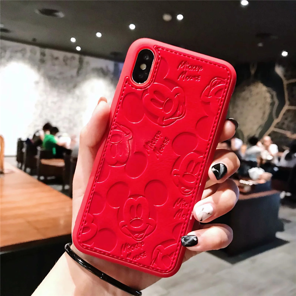 Phone - Cartoon Mickey Minnie Mouse Leather Case For iPhone 8 7 6 6S Plus X Xs Max XR 3D embossing Disneys Painting Soft leather Cover