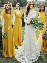 Gold Yellow Chiffon Bridesmaid Dress with Ruffles Cap Sleeves V-Neck Long Country Formal Party for Weddings Guest Gowns