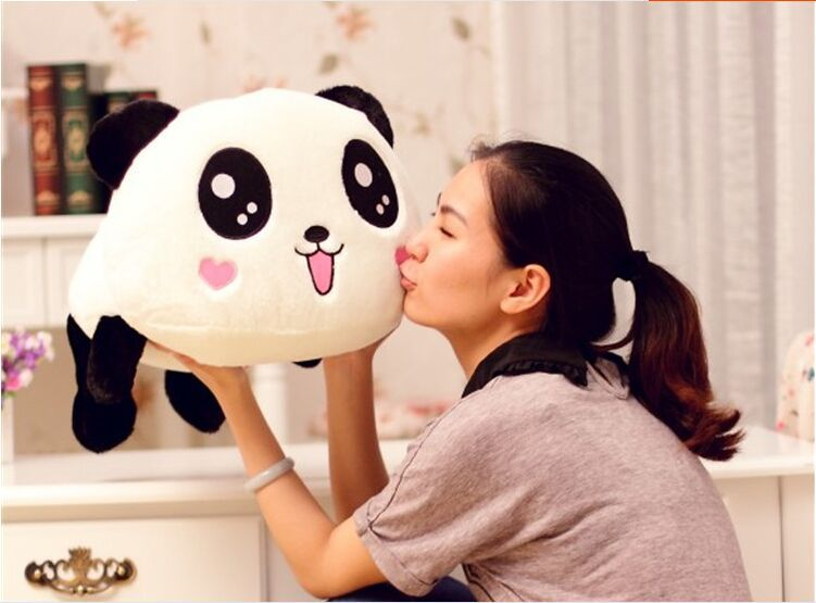 middle lovely plush lying panda toy smile panda doll with hearts on face gift about 55cm 0089 huge lovely panda toy big plush panda with stripe clothes birthday gift about 90cm