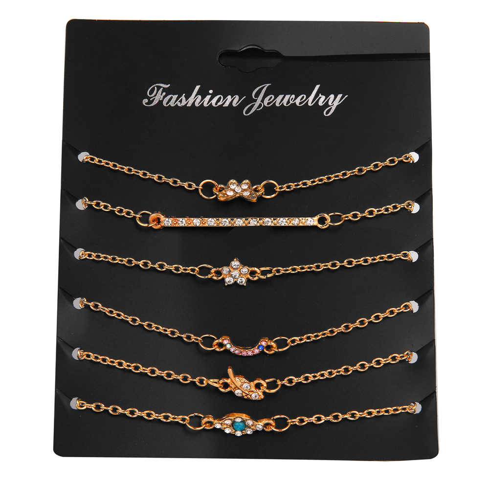 fd50c934494 Detail Feedback Questions about 6 Pcs/Set Women Bracelets Set Tiny Gold  Chains Eye Leaf Flower Charm Bracelet Femme Jewelry Fashion Pulseira  Feminina 2019 ...