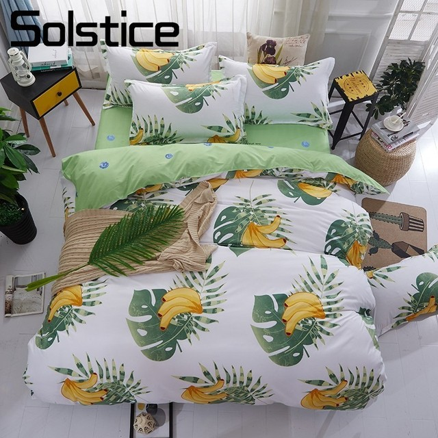 Solstice Home Textile King Full Twin Bedding Set Kid Child Teen Banana  Duvet Quilt Cover Pillowcase Bed Sheet Boy Girl Bedlinen