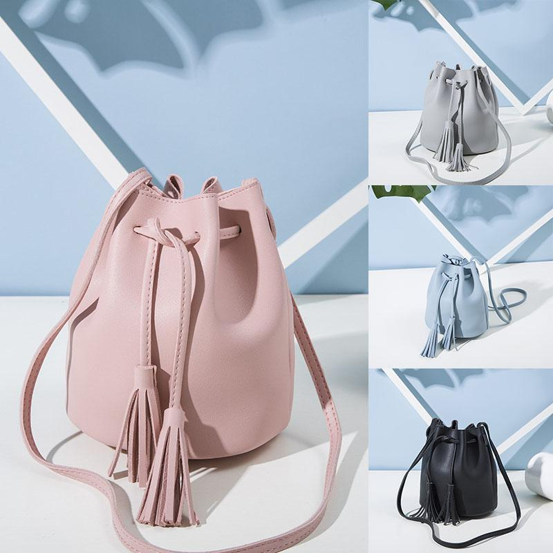 Women Fashion Messenger Bag All-match Solid Color Vintage Tassel Drawstring Bucket Shoulder Bag Leather Fashion Crossbody Bags