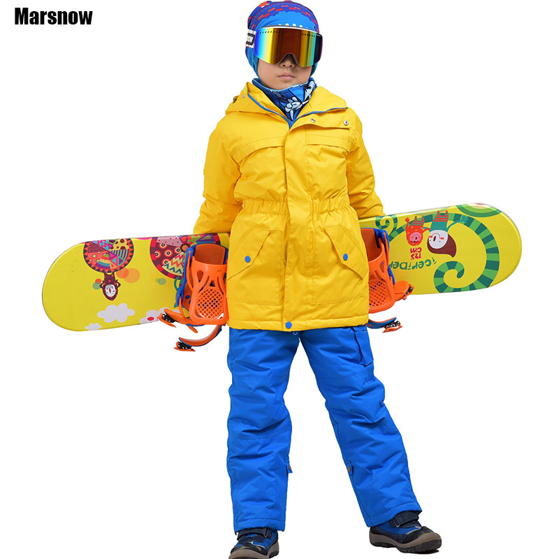 Marsnow Skiing jacket and pant kids 2017 New free shipping baby waterproof set windproof waterproof -30 snow ski suit for Child