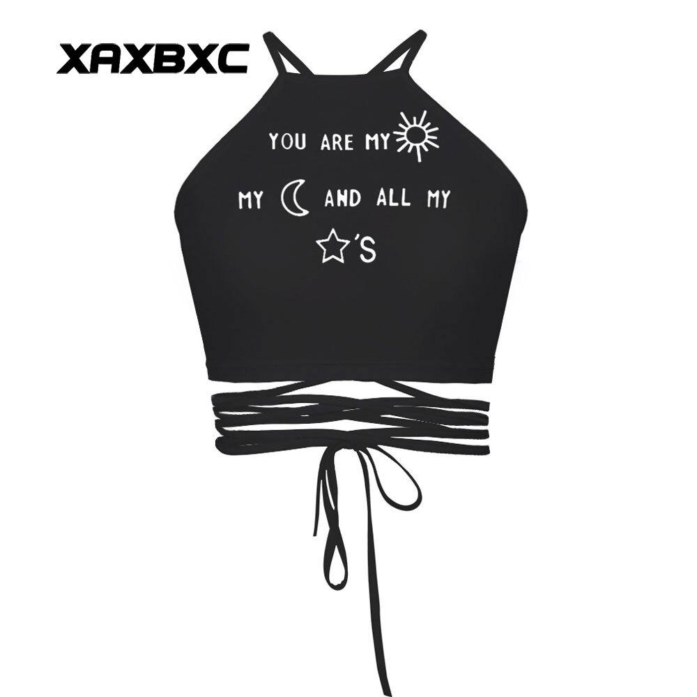 XAXBXC 018 Summer Sexy Girl Vest Women Cropped Tops Letter Love Words Emoji Prints Slim Fitness Cross Bandage Strap Tank Tops