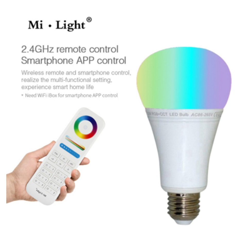 E27 12W LED Bulb Lamp Light Dimmable 8 zone remote milight RGB Warm White White RGBCCT Spotlight Wireless WIFI Smart LED Lamp mi light 2 4g 1pcs lot 12w led downlight remote rf control wireless bulb lamp white warm white down light 85 265v