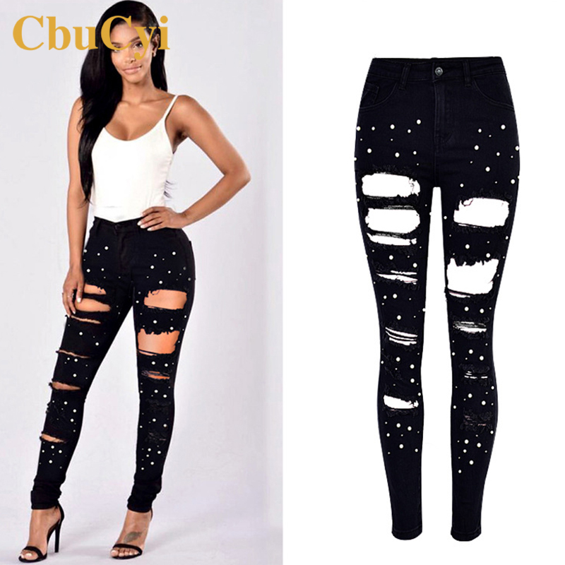 CbuCyi Fashion Jeans Women Cotton Denim Trousers High Waist Washed Hole Stretch Black Jeans Female Embroidered Flare Denim Pants