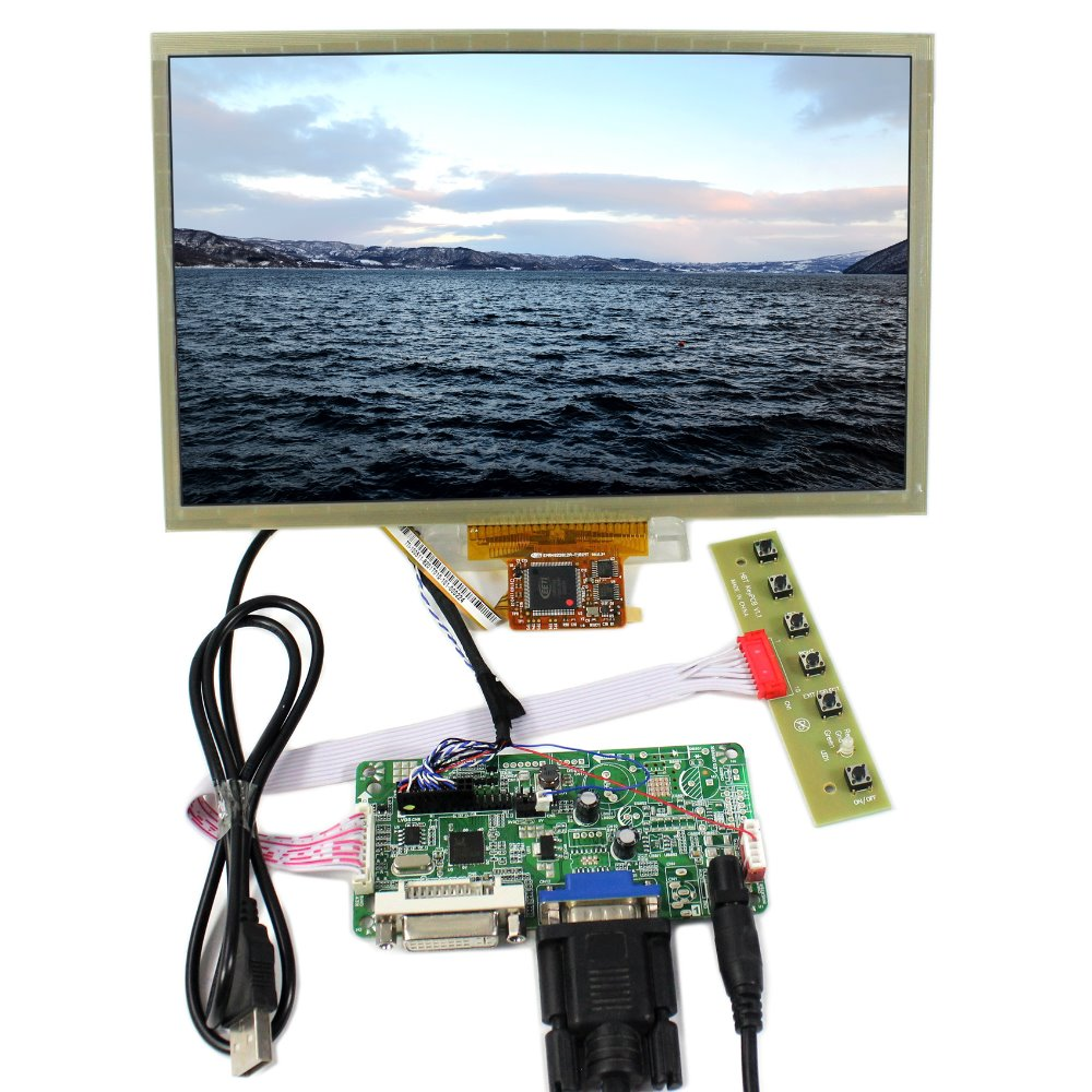 DVI VGA LCD Controller Board 10.2 HSD100IFW1 CLAA102NA0ACW 1024x600 Multi-touch LCD Screen 8 4 8 inch industrial control lcd monitor vga dvi interface metal shell open frame non touch screen 800 600 4 3