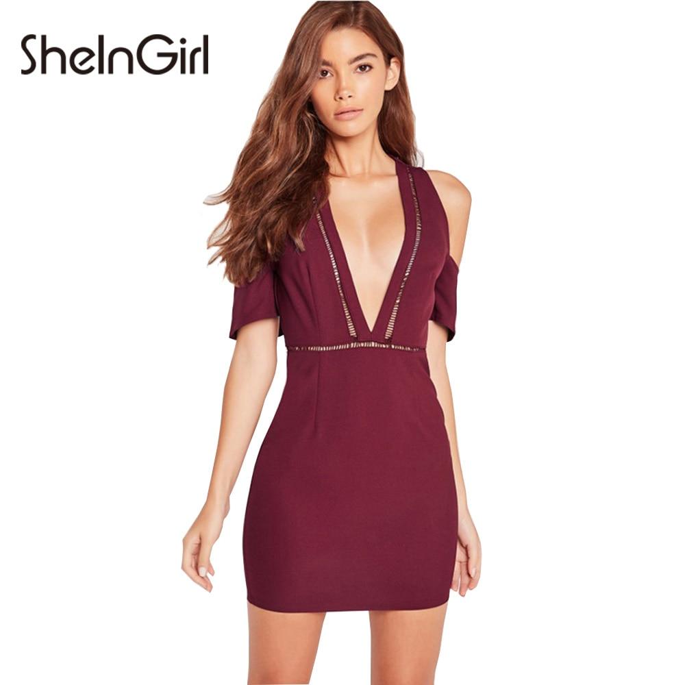 Burgundy bodycon mini dress