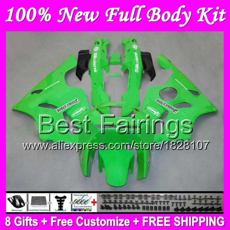 ירוק מבריק 94-97 Fairing לkawasaki NINJA ZX6R ZX 6R 636 B18 ZX636 ZX-6R 94 95 96 97 1994 1995 1996 1997 חדש ירוק + מדבקות