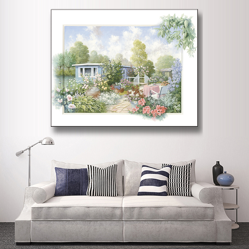 1 pcs classic spring landscape h 3d painting country style green house garden wall art painting. Black Bedroom Furniture Sets. Home Design Ideas