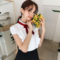 Dabuwawa Women Dress 2019 Summer New Black&White Patchwork Bow Tie A Line Dress Ladies Elegant Ruffle Dress DN1BDR036
