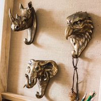 Rhino Elephant Hawk Beast Head Single Wall Hook / Hanger Animal shaped Coat Hat Hook Heavy Duty, Rustic, Decorative Gift