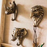 Rhino Elephant Hawk Beast Head Single Wall Hook / Hanger Animal shaped Coat Hat Hook Heavy Duty, Rustic, Decorative Gift