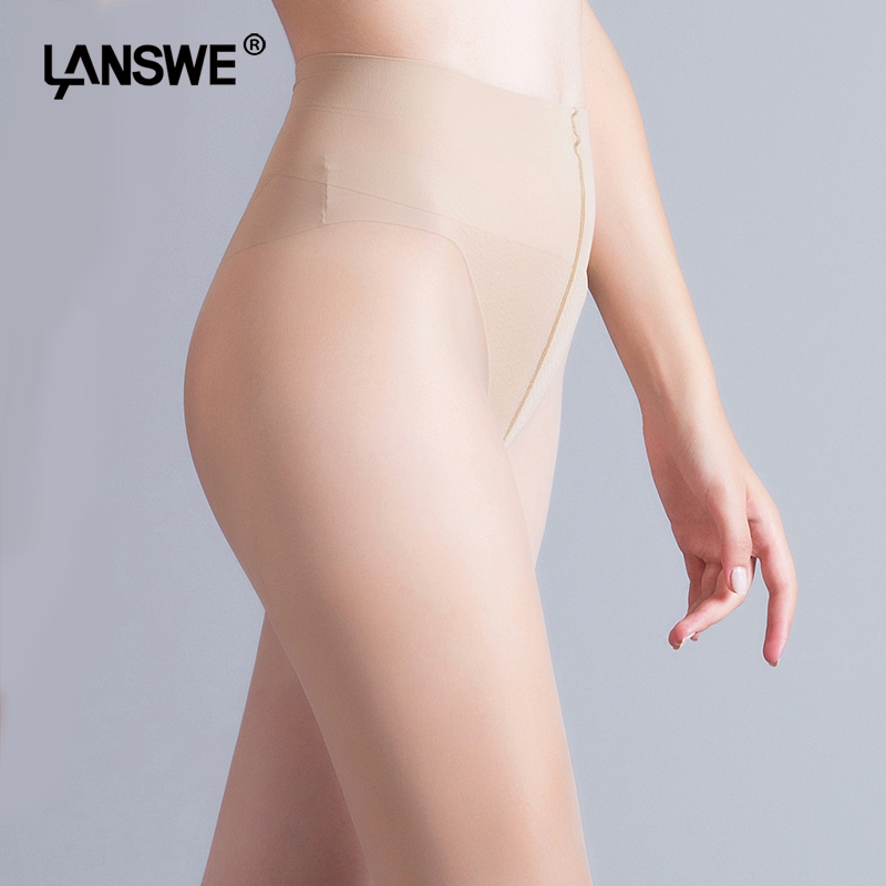 LANSWE 2017 New women V-crotch Velvet Nylon Pantyhose Anti-hook lady summer 12D thin Tights Solid color female stockings
