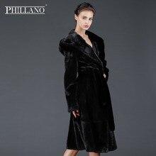 Phillano Premium Women mink garment natural fur coat classic style Sable hood Classic Style Scandinavia Denmark NAFA YG13035-115