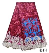 цены на 2019 Hot Sale Red Embroidered African Lace Fabric High Quality French Net Guipure Lace Fabrics 5 yards/piece free shipping 233  в интернет-магазинах