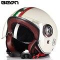 Beon Vintage Casque Moto Motorcycle Helmet Open Face Motocicleta Cascos Motor Pilot Helmet Racing Retro Helmet Motorbike casque