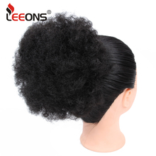 Leeons Brown Black Synthetic Ponytail Hair Extension Clip On Pony Tail Kinky Afro Puff Curly Hairpiece